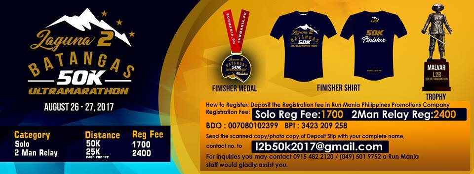 Laguna to Batangas 50k Ultra Marathon 2017