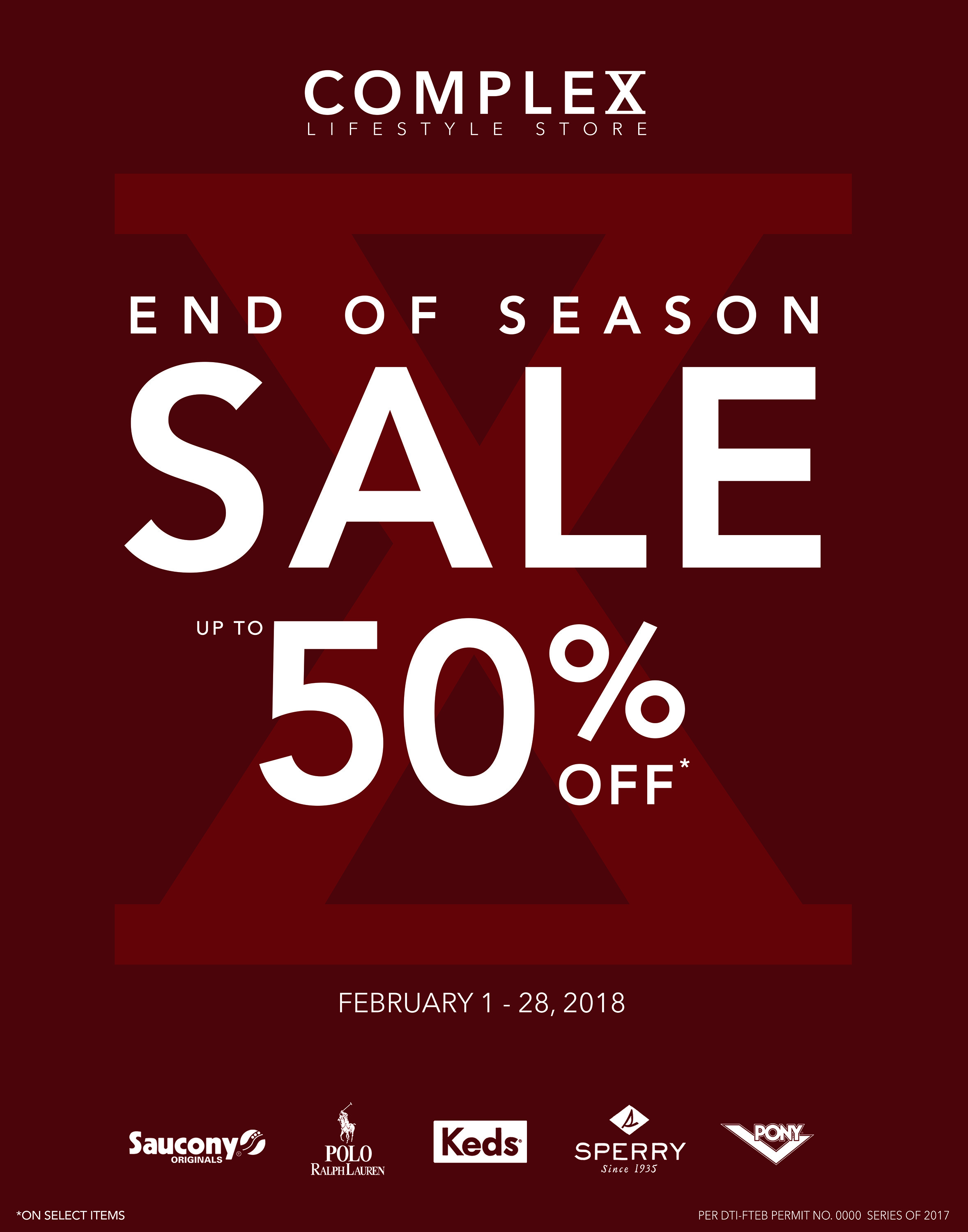 COMPLEX LIFESTYLE STORE END OF SEASON SALE!