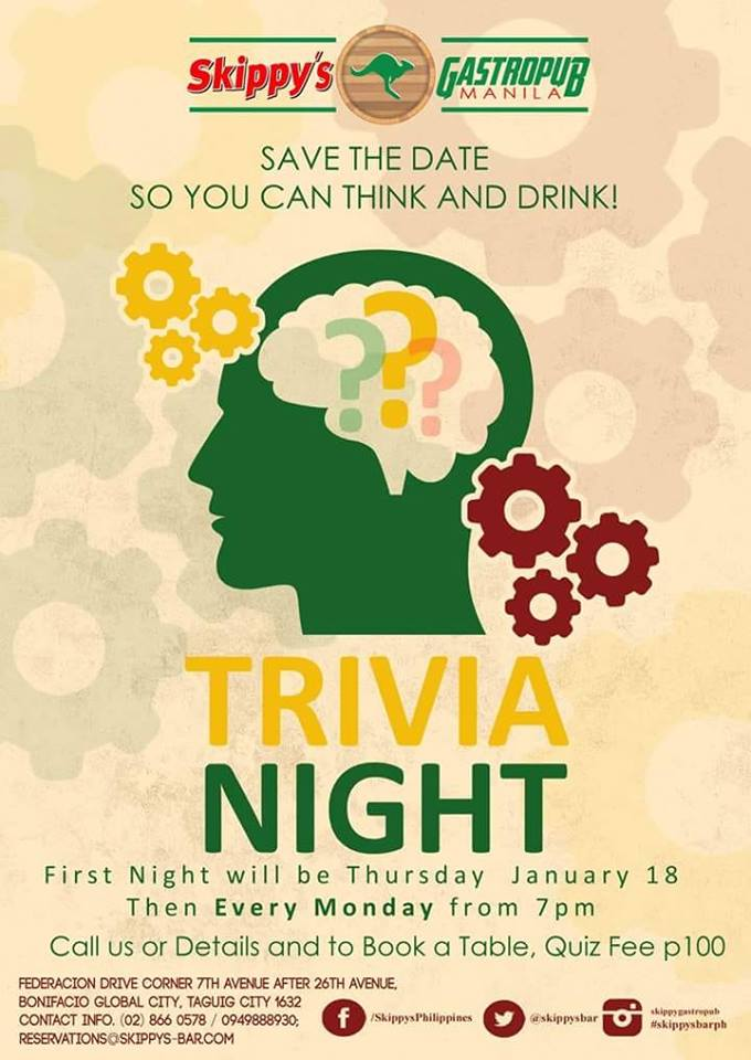 TRIVIA NIGHT AT SKIPPY'S GASTROPUB MANILA