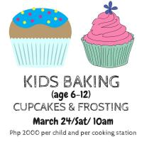 KIDDIE BAKING CUPCAKES AND FROSTING