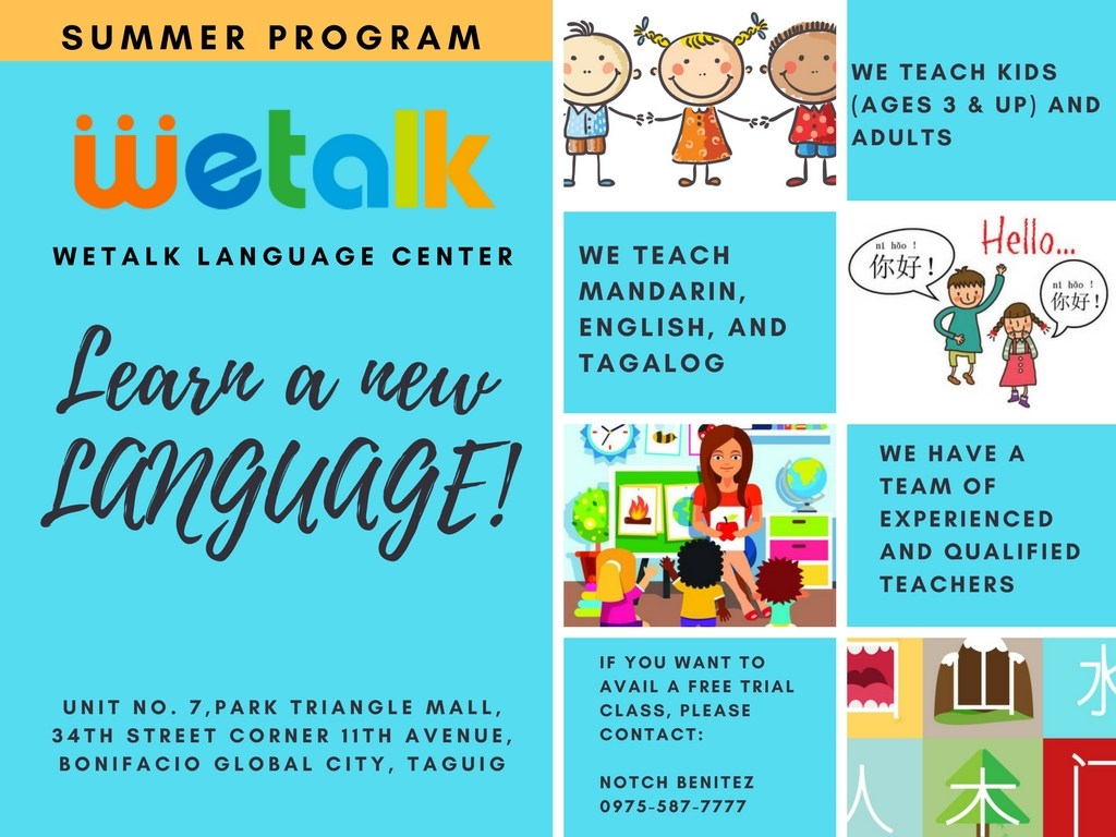 MANDARIN LANGUAGE FOR SUMMER AT WE TALK
