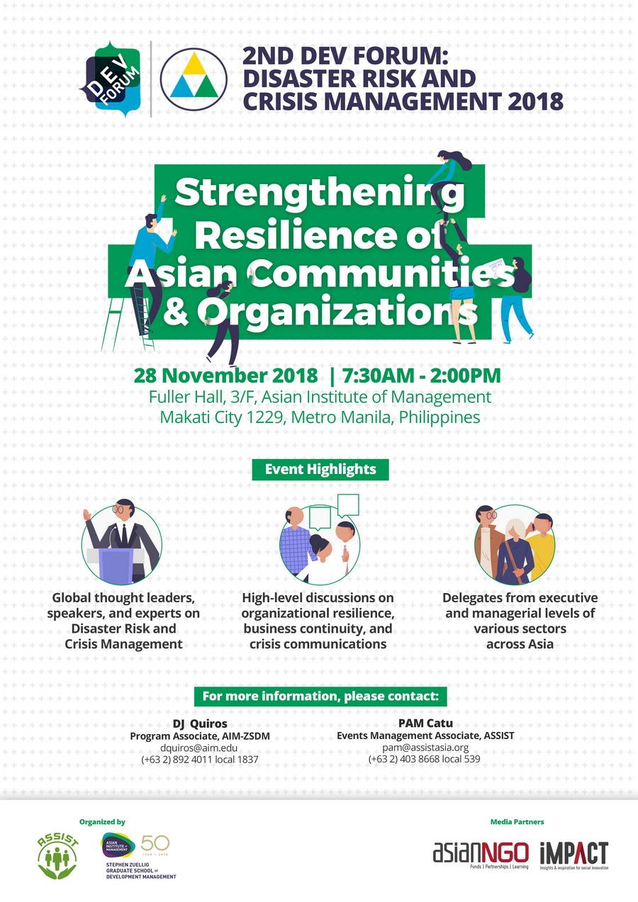 2nd Dev Forum: Disaster Risk and Crisis Management 2018