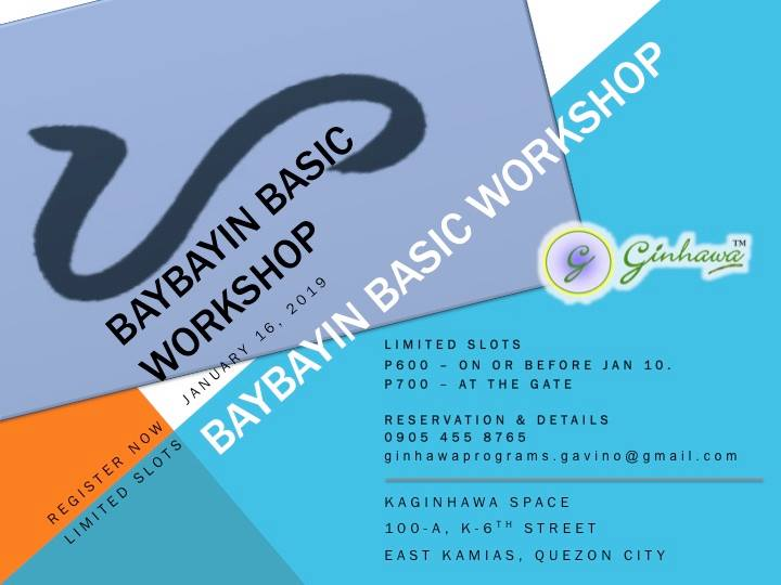 BAYBAYIN BASIC WORKSHOP