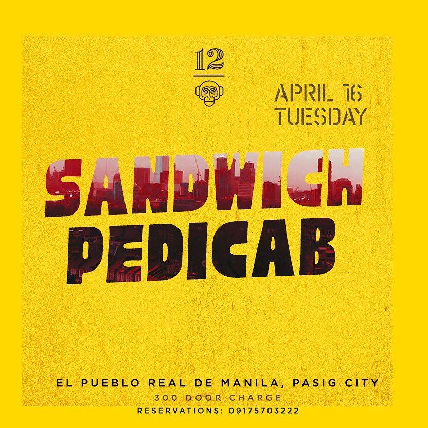 SANDWICH X PEDICAB AT 12 MONKEYS MUSIC HALL & PUB