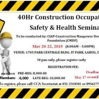 40-HOUR CONSTRUCTION OCCUPATIONAL SAFETY & HEALTH SEMINAR
