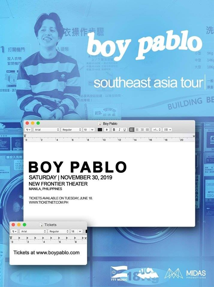 BOY PABLO SOUTHEAST ASIA TOUR