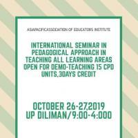 International Seminar InPedagogical Approach,15Cpd,3days Credit