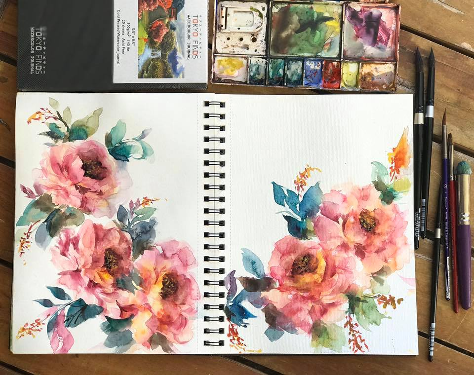 Watercolor Floral Painting Series