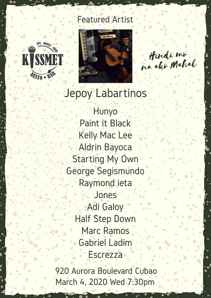 JEPOY LABARTINOS AT KISSMET RESTO BAR