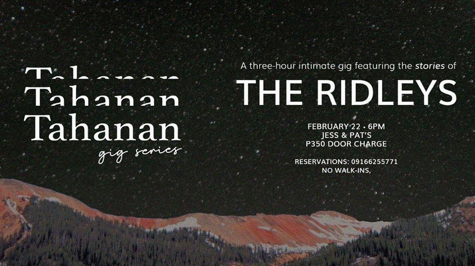 TAHANAN GIG SERIES FEATURING THE RIDLEYS AT JESS & PAT'S