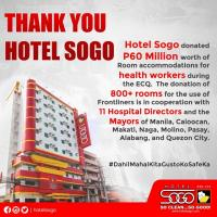 Hotel Sogo donated P60 million worth of room accommodations for health workers during the ECQ