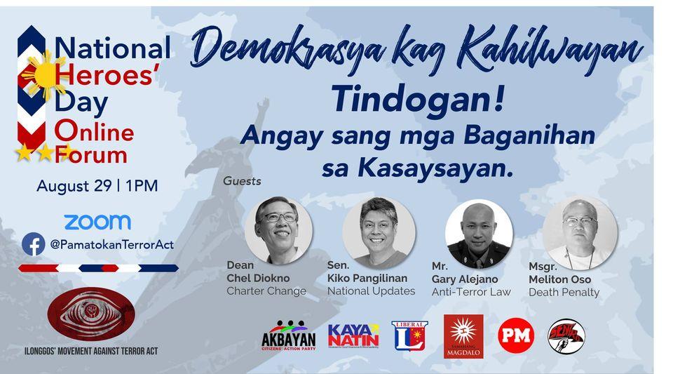 Demokrasya kag Kahilwayan Tindogan! Angay sang mga Baganihan sa Kasayasayan: A National Heroes' Day Online Forum