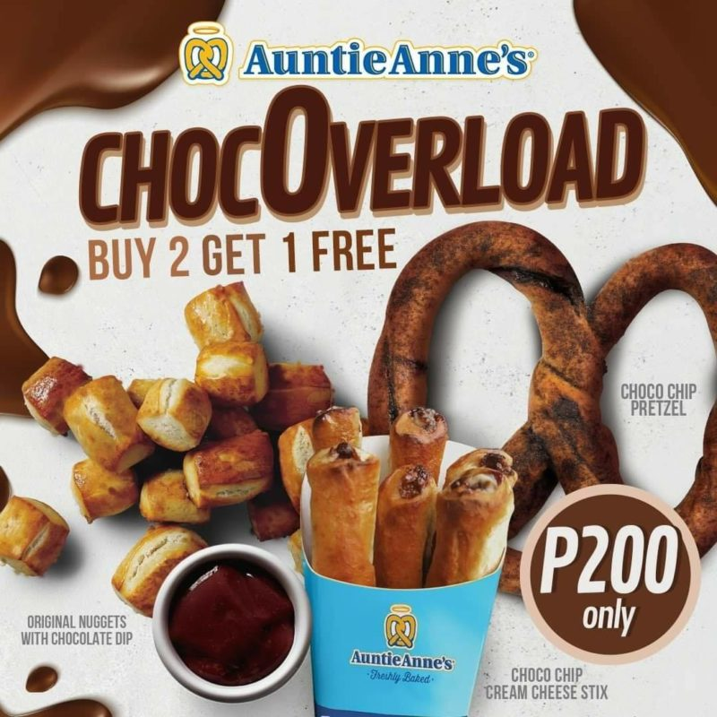Auntie Anne's ChocOverload Buy 2 Get 1 Promo