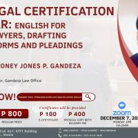 Paralegal Certification Seminar: English for Future Lawyers, Drafting of Legal Forms and Pleadings