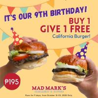 Mad Mark's Anniversary Promo: Buy 1 Get 1 California Burger