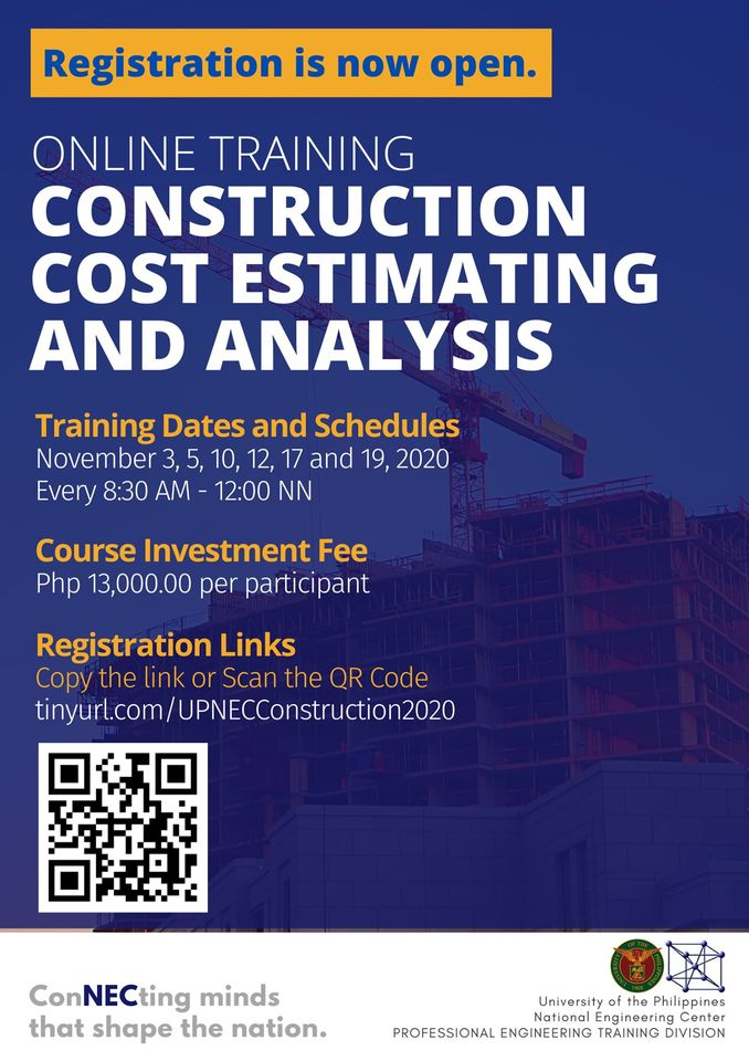 Online Training on Construction Cost Estimating and Analysis