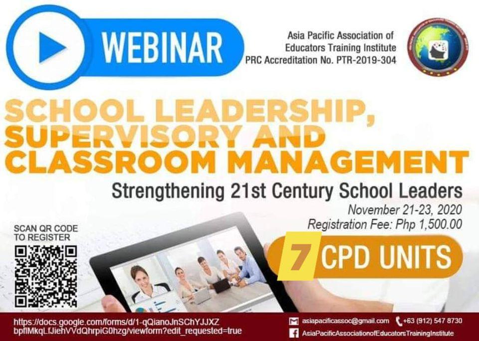 International seminar on School leadership,Supervisory and Classroom Management