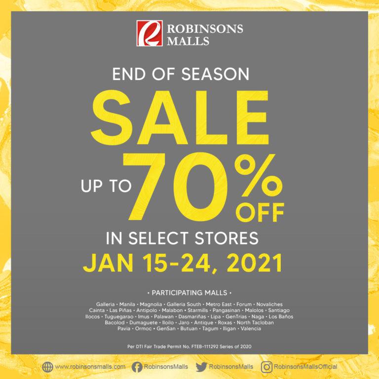 Robinsons Malls upto 70% OFF End of Season Sale