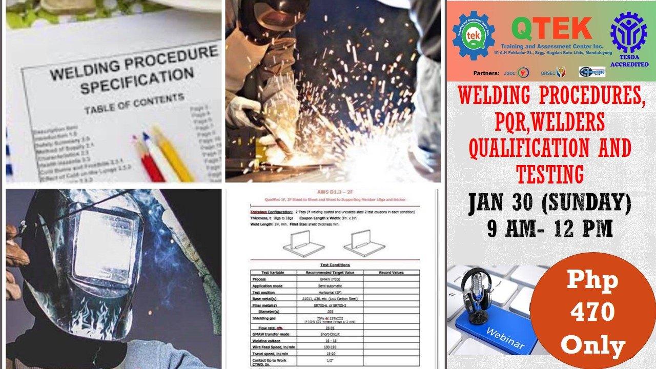 Welding procedures, PQR, Welders Qualification and Testing