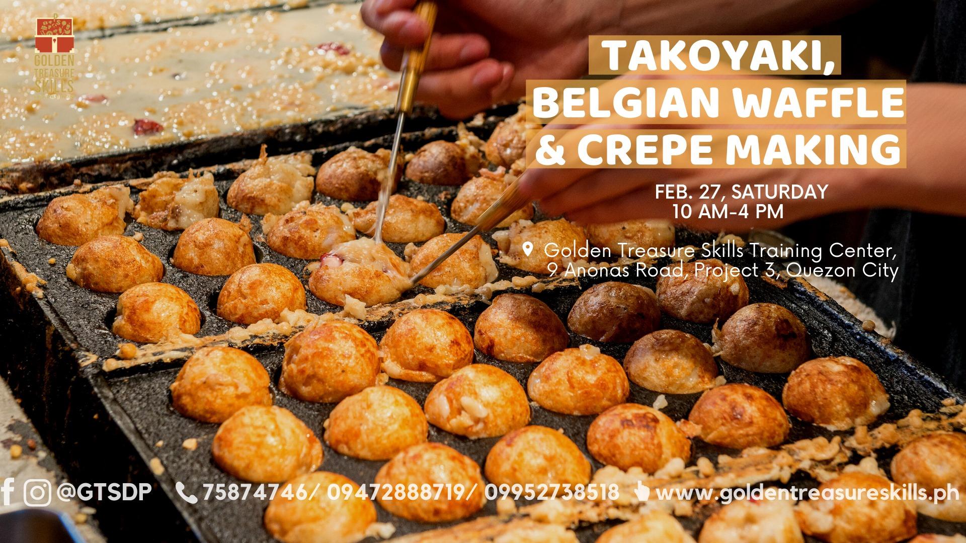 Takoyaki, Belgian Waffle and Crepe Making